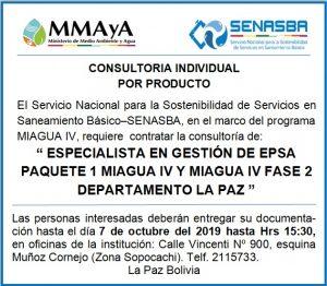 """""""ESPECIALISTA EN GESTIÓN DE EPSA PAQUETE 1 MIAGUA IV Y MIAGUA IV FASE 2 DEPARTAMENTO LA PAZ"""""""