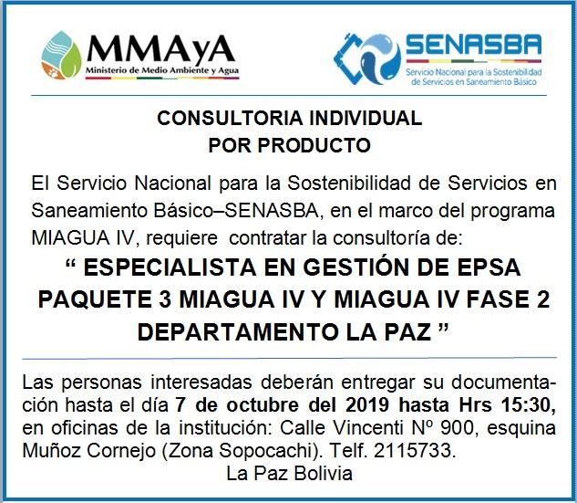 """""""ESPECIALISTA EN GESTIÓN DE EPSA PAQUETE 3 MIAGUA IV Y MIAGUA IV FASE 2 DEPARTAMENTO LA PAZ"""""""