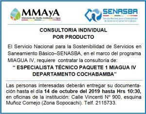 """ESPECIALISTA TÉCNICO PAQUETE 1 MIAGUA IV DEPARTAMENTO COCHABAMBA"""