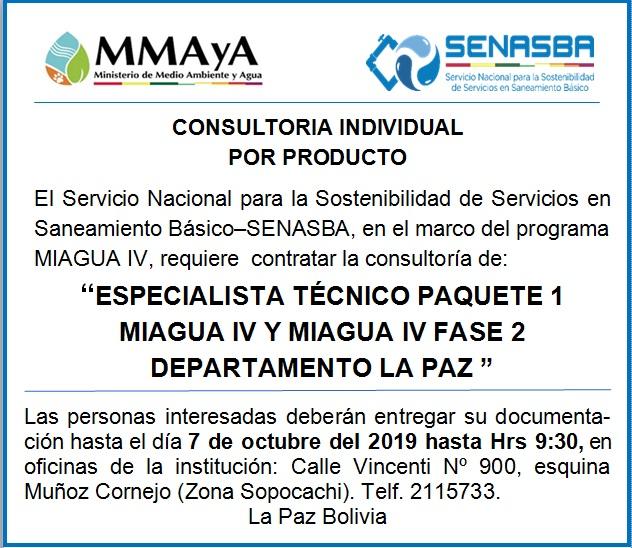 """ESPECIALISTA TÉCNICO PAQUETE 1 MIAGUA IV Y MIAGUA IV FASE 2 DEPARTAMENTO LA PAZ"""