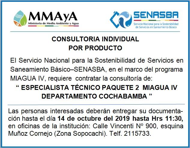 """ESPECIALISTA TÉCNICO PAQUETE 2 MIAGUA IV DEPARTAMENTO COCHABAMBA"""