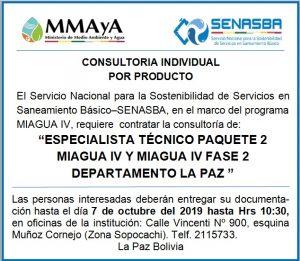 """ESPECIALISTA TÉCNICO PAQUETE 2 MIAGUA IV Y MIAGUA IV FASE 2 DEPARTAMENTO LA PAZ"""