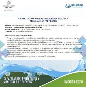 """SENASBA cumplió con la capacitación Virtual referida a la """"Protección y Monitoreo de Fuentes"""" del Programa MIAGUA V con las regionales de La Paz y Potosí"""