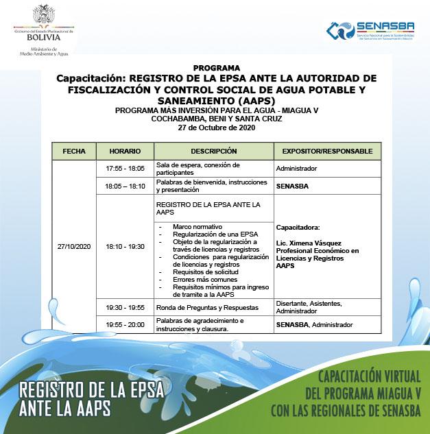 Se realizó la Capacitación: REGISTRO DE LA EPSA ANTE LA AUTORIDAD DE FISCALIZACIÓN Y CONTROL SOCIAL DE AGUA POTABLE Y SANEAMIENTO (AAPS).