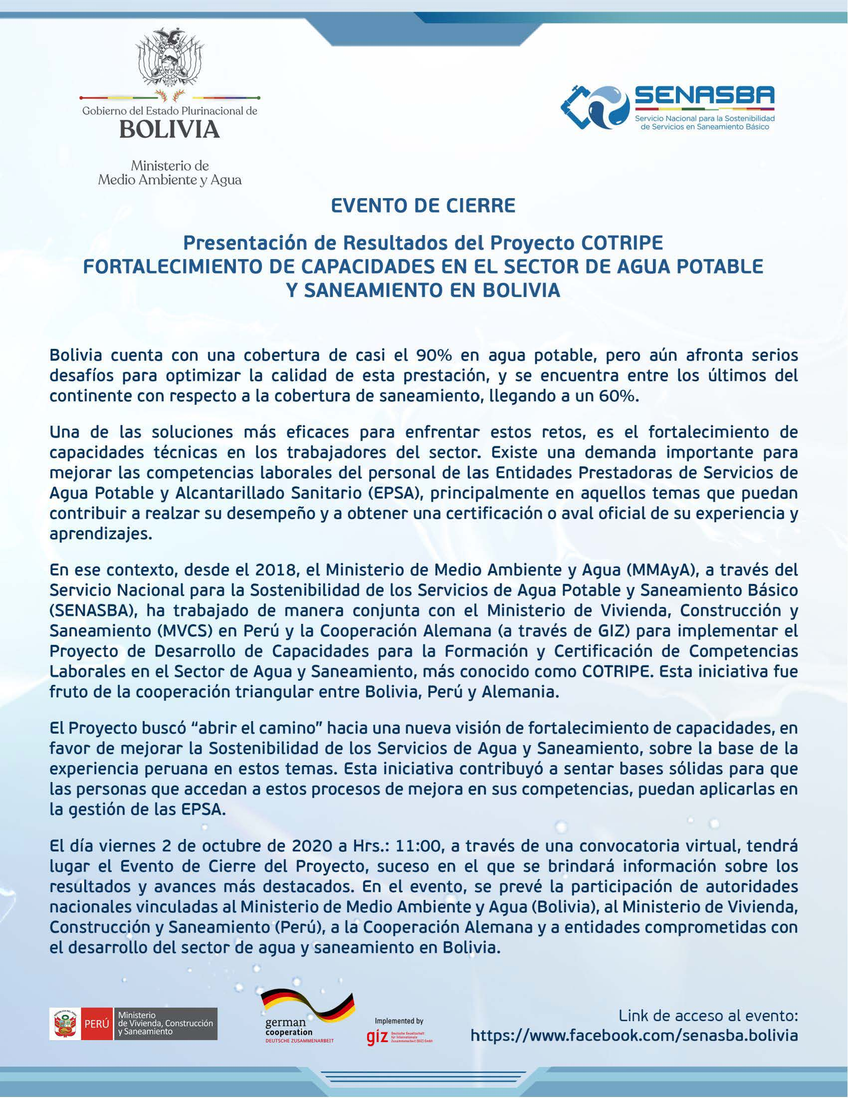 """PRESENTACIÓN DE RESULTADOS DEL PROYECTO """"COTRIPE"""" FORTALECIMIENTO DE CAPACIDADES EN EL SECTOR DE AGUA POTABLE Y SANEAMIENTO EN BOLIVIA"""