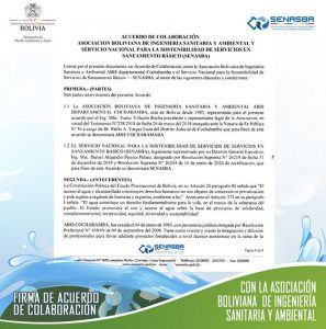 FIRMA DE ACUERDO DE COLABORACIÓN ENTRE LA ASOCIACION BOLIVIANA DE INGENIERIA SANITARIA Y AMBIENTAL Y EL SERVICIO NACIONAL PARA LA SOTENIBILIDAD DE SERVICIOS EN SANEAMIENTO BÅSICO
