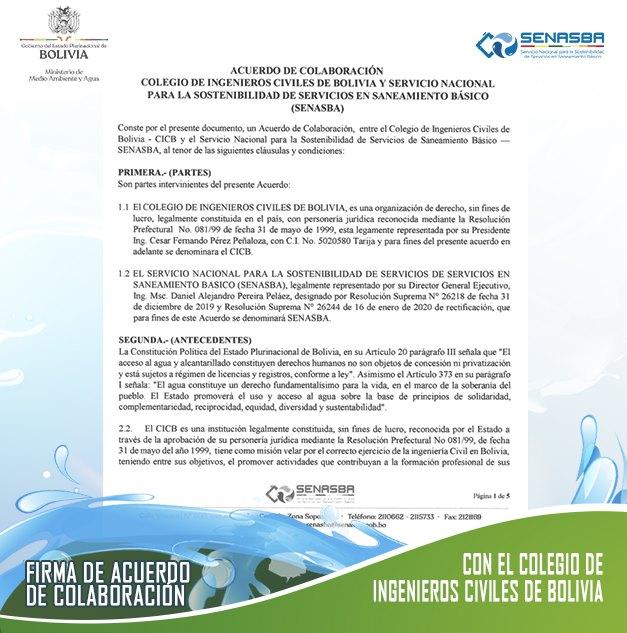 ACUERDO DE COLABORACIÓN COLEGIO DE INGENIEROS CIVILES DE BOLIVIA Y SERVICIO NACIONAL PARA LA SOSTENIBILIDAD DE SERVICIOS EN SANEAMIENTO BÁSICO