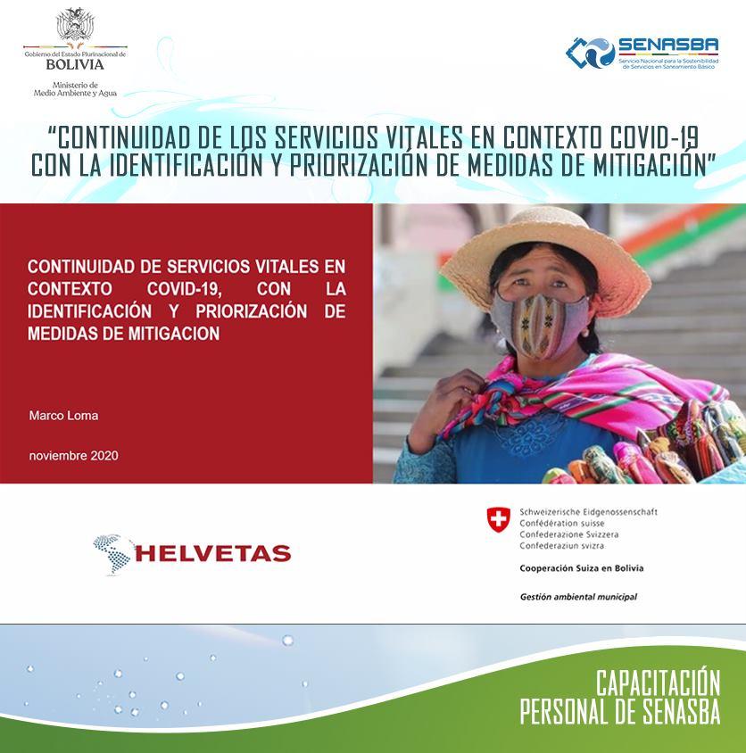 """CAPACITACIÓN: """"CONTINUIDAD DE SERVICIOS VITALES EN CONTEXTO COVID-19, CON LA IDENTIFICACIÓN Y PRIORIZACIÓN DE MEDIDAS DE MITIGACIÓN"""""""