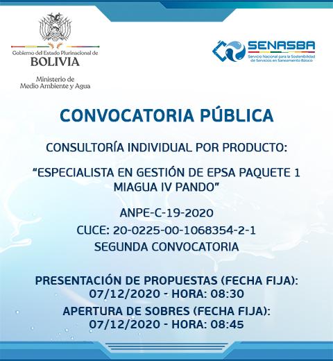 ESPECIALISTA EN GESTIÓN DE EPSA PAQUETE 1 MIAGUA IV PANDO