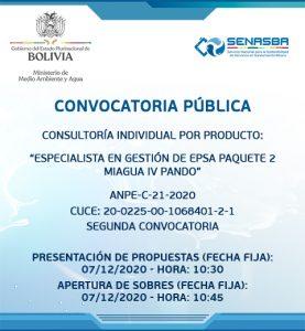ESPECIALISTA EN GESTIÓN DE EPSA PAQUETE 2 MIAGUA IV PANDO