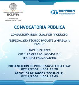 ESPECIALISTA TÉCNICO PAQUETE 2 MIAGUA IV PANDO