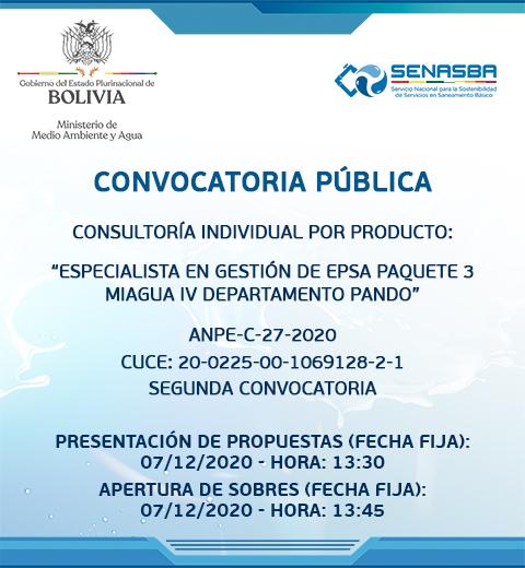 CONSULTORÍA INDIVIDUAL POR PRODUCTO ESPECIALISTA EN GESTIÓN DE EPSA PAQUETE 3 MIAGUA IV DEPARTAMENTO PANDO