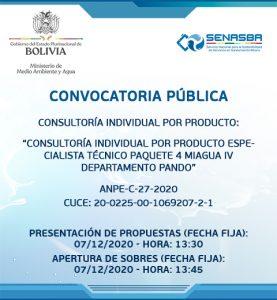 CONSULTORÍA INDIVIDUAL POR PRODUCTO ESPECIALISTA TÉCNICO PAQUETE 3 MIAGUA IV DEPARTAMENTO PANDO