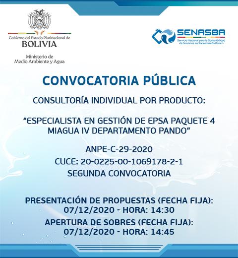 CONSULTORÍA INDIVIDUAL POR PRODUCTO ESPECIALISTA EN GESTIÓN DE EPSA PAQUETE 4  MIAGUA IV DEPARTAMENTO PANDO