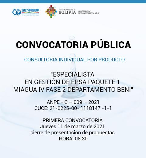 ESPECIALISTA EN GESTION DE EPSA PAQUETE 1 MIAGUA IV FASE 2 DEPARTAMENTO BENI