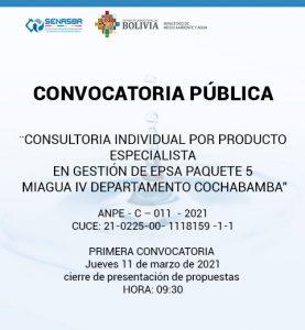 CONSULTORIA INDIVIDUAL POR PRODUCTO ESPECIALISTA EN GESTIÓN DE EPSA PAQUETE 5 MIAGUA IV DEPARTAMENTO DE COCHABAMBA