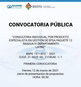 CONSULTORIA INDIVIDUAL POR PRODUCTO ESPECIALISTA EN GESTIÓN DE EPSA PAQUETE 12 MIAGUA IV DEPARTAMENTO LA PAZ