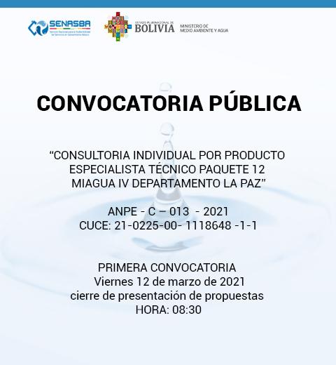 CONSULTORIA INDIVIDUAL POR PRODUCTO ESPECIALISTA TÉCNICO PAQUETE 12 MIAGUA IV DEPARTAMENTO DE LA PAZ