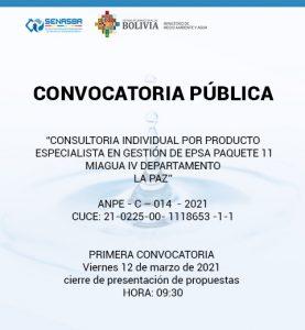 CONSULTORIA INDIVIDUAL POR PRODUCTO ESPECIALISTA EN GESTIÓN DE EPSA PAQUETE 11 MIAGUA IV DEPARTAMENTO LA PAZ
