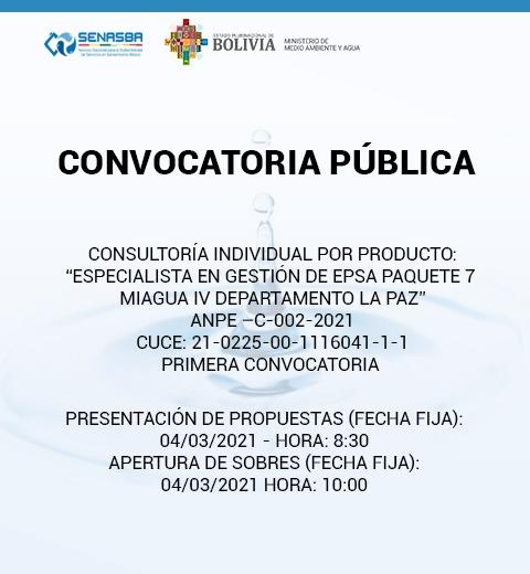 ESPECIALISTA EN GESTIÓN DE EPSA PAQUETE 7 MIAGUA IV DEPARTAMENTO LA PAZ
