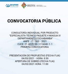 ESPECIALISTA TÉCNICO PAQUETE 4 MIAGUA IV DEPARTAMENTO COCHABAMBA