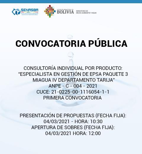ESPECIALISTA EN GESTIÓN DE EPSA PAQUETE 3 MIAGUA IV DEPARTAMENTO TARIJA