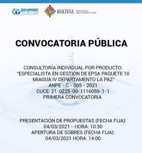 ESPECIALISTA EN GESTIÓN DE EPSA PAQUETE 10 MIAGUA IV DEPARTAMENTO LA PAZ