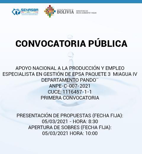 ESPECIALISTA EN GESTIÓN DE EPSA PAQUETE 3 MIAGUA IV DEPARTAMENTO PANDO