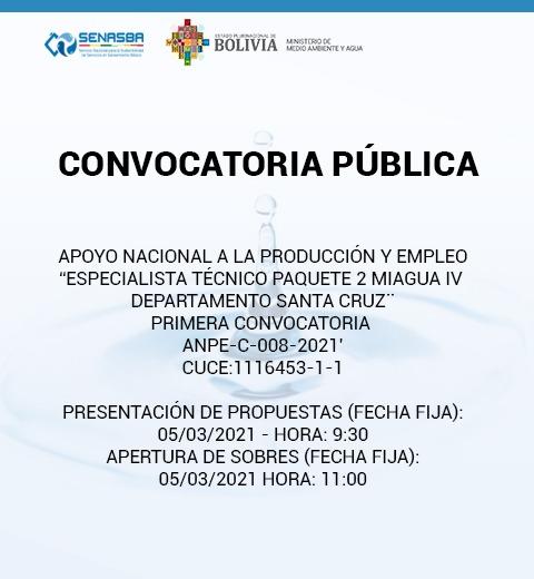 ESPECIALISTA TÉCNICO PAQUETE 2 MIAGUA IV DEPARTAMENTO SANTA CRUZ