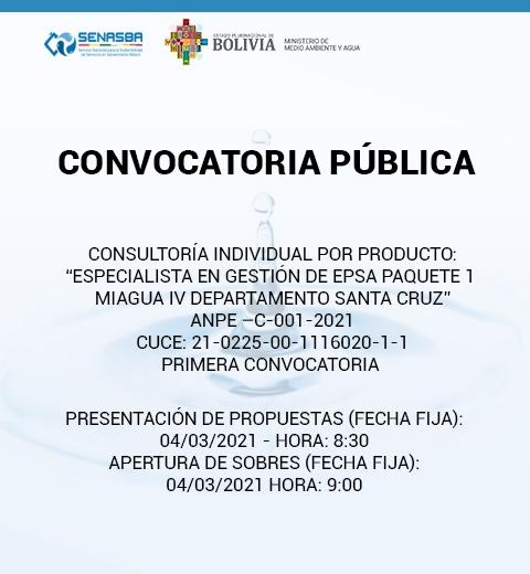 ESPECIALISTA EN GESTIÓN DE EPSA PAQUETE 1 MIAGUA IV DEPARTAMENTO SANTA CRUZ