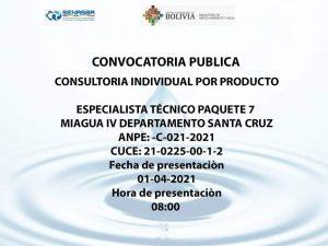 ESPECIALISTA TÉCNICO PAQUETE 7 MIAGUA IV DEPARTAMENTO DE SANTA CRUZ