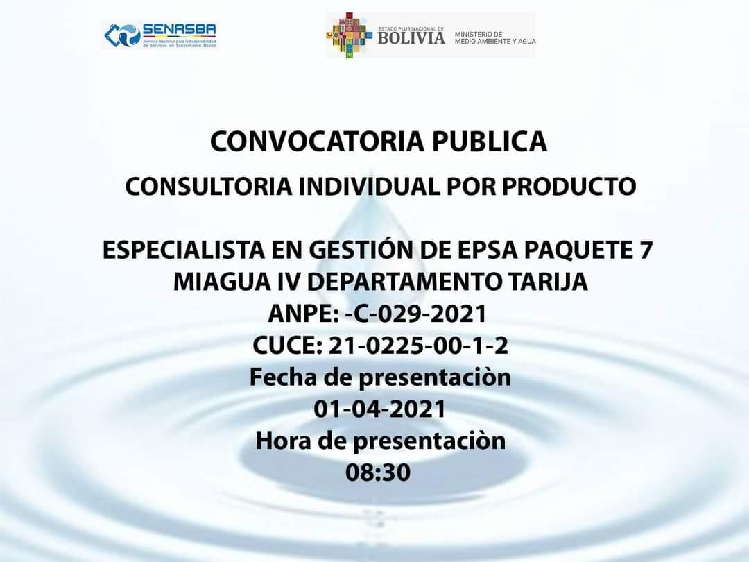 ESPECIALISTA EN GESTIÓN DE EPSA PAQUETE 7 MIAGUA IV DEPARTAMENTO DE TARIJA