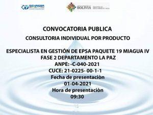 ESPECIALISTA EN GESTIÓN DE EPSA PAQUETE 19 MIAGUA IV FASE 2 DEPARTAMENTO LA PAZ