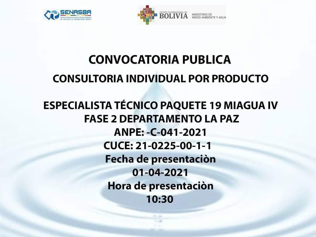 ESPECIALISTA TÉCNICO PAQUETE 19 MIAGUA IV FASE 2 DEPARTAMENTO LA PAZ