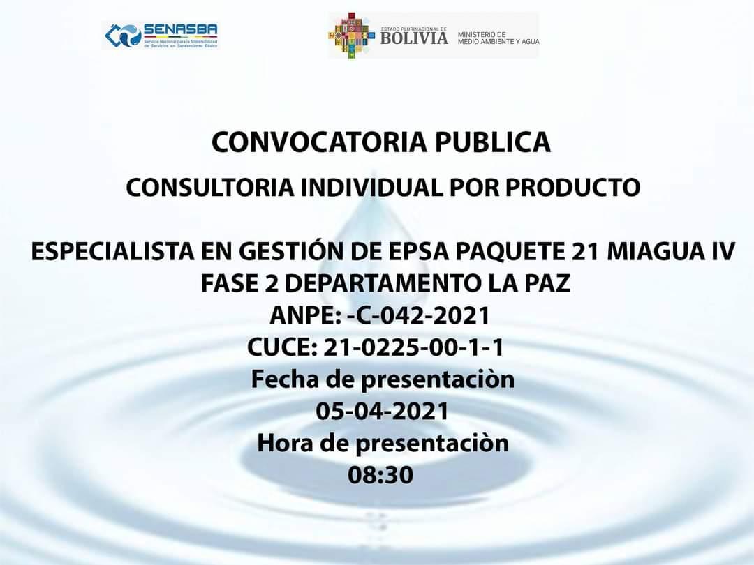 ESPECIALISTA EN GESTIÓN DE EPSA PAQUETE 21 MIAGUA IV FASE 2 DEPARTAMENTO LA PAZ