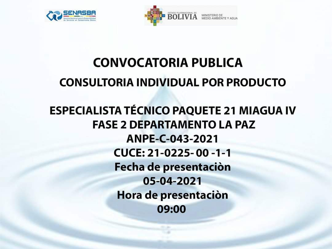 ESPECIALISTA TÉCNICO PAQUETE 21 MIAGUA IV FASE 2 DEPARTAMENTO LA PAZ