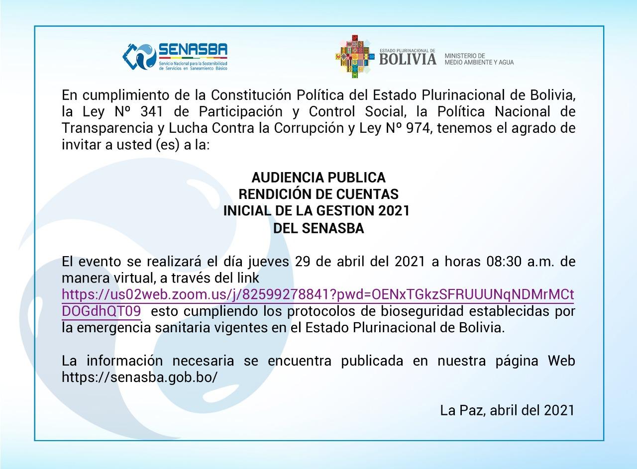 Audiencia Pública Rendición de Cuentas Inicial de la Gestión 2021 SENASBA