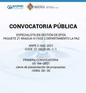 ESPECIALISTA EN GESTION DE EPSA PAQUETE 21 MIAGUA IV FASE 2 DEPARTAMENTO LA PAZ