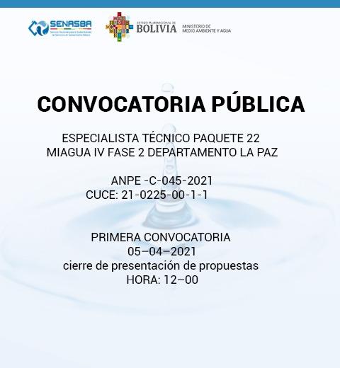 ESPECIALISTA TÉCNICO PAQUETE 22 MIAGUA IV FASE 2 DEPARTAMENTO LA PAZ