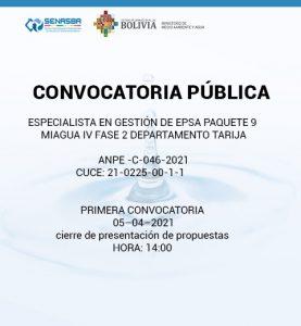 ESPECIALISTA EN GESTIÓN DE EPSA  PAQUETE 9 MIAGUA IV FASE 2 DEPARTAMENTO TARIJA