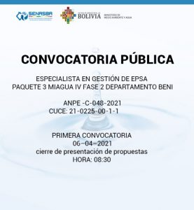ESPECIALISTA EN GESTIÓN DE EPSA PAQUETE 3 MIAGUA IV FASE 2 DEPARTAMENTO BENI