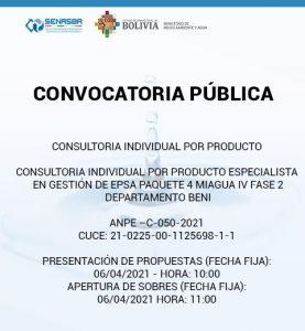 CONSULTORIA INDIVIDUAL POR PRODUCTO ESPECIALISTA EN GESTION DE EPSA PAQUETE 4 MIAGUA IV FASE 2 DEPARTAMENTO BENI