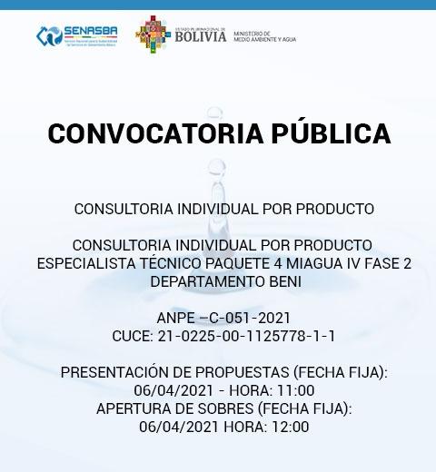 CONSULTORIA INDIVIDUAL POR PRODUCTO ESPECIALISTA TÉCNICO PAQUETE 4 MIAGUA IV FASE 2 DEPARTAMENTO BENI