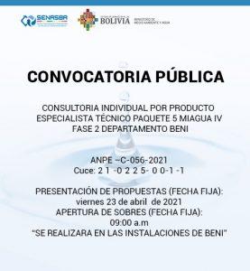 CONSULTORIA INDIVIDUAL POR PRODUCTO ESPECIALISTA TÉCNICO PAQUETE 5 MIAGUA IV FASE 2 DEPARTAMENTO BENI