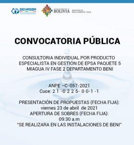 CONSULTORIA INDIVIDUAL POR PRODUCTO ESPECIALISTA EN GESTIÓN DE EPSA PAQUETE 5 MIAGUA IV FASE 2 DEPARTAMENTO BENI