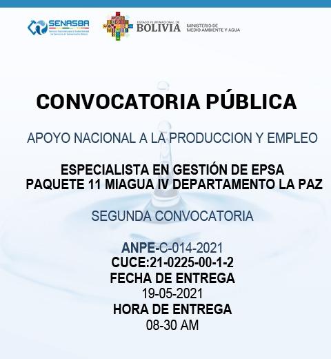 ESPECIALISTA EN GESTIÓN DE EPSA PAQUETE 11 MIAGUA IV DEPARTAMENTO LA PAZ