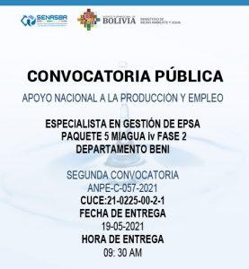 ESPECIALISTA EN GESTIÓN DE EPSA PAQUETE 5 MIAGUA IV FASE 2 DEPARTAMENTO BENI