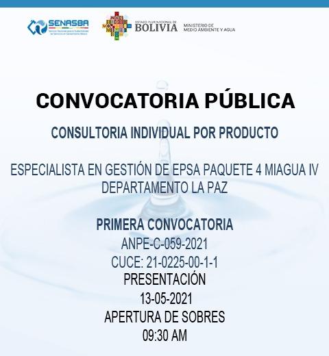 CONSULTORIA INDIVIDUAL POR PRODUCTO ESPECIALISTA EN GESTION DE EPSA PAQUETE 4 MIAGUA IV DEPARTAMENTO LA PAZ