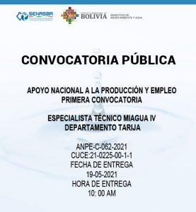 ESPECIALISTA TÉCNICO MIAGUA IV DEPARTAMENTO TARIJA