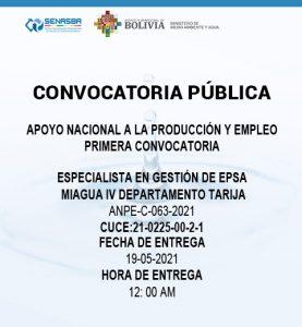 ESPECIALISTA EN GESTIÓN DE EPSA MIAGUA IV DEPARTAMENTO TARIJA
